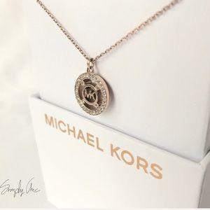 NWT authentic MK rose gold tone pave logo pendant